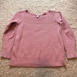 LOFT pink boat neck sweater